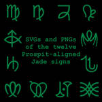 Extended Zodiac Vectors - Prospitian Jade signs