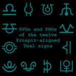 Extended Zodiac Vectors - Prospitian Teal signs