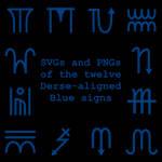 Extended Zodiac Vectors - Dersite Blue signs