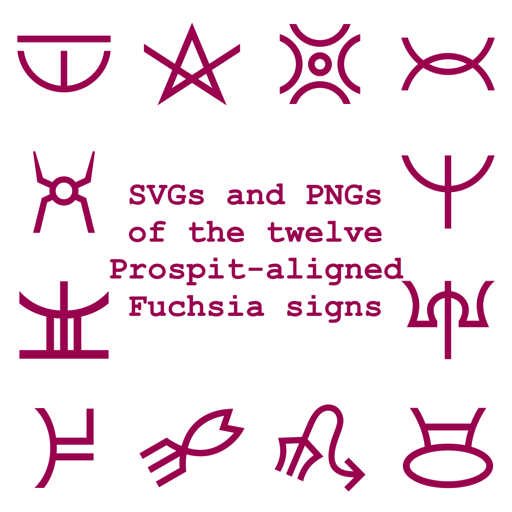 Extended Zodiac Vectors - Prospitian Fuchsia signs