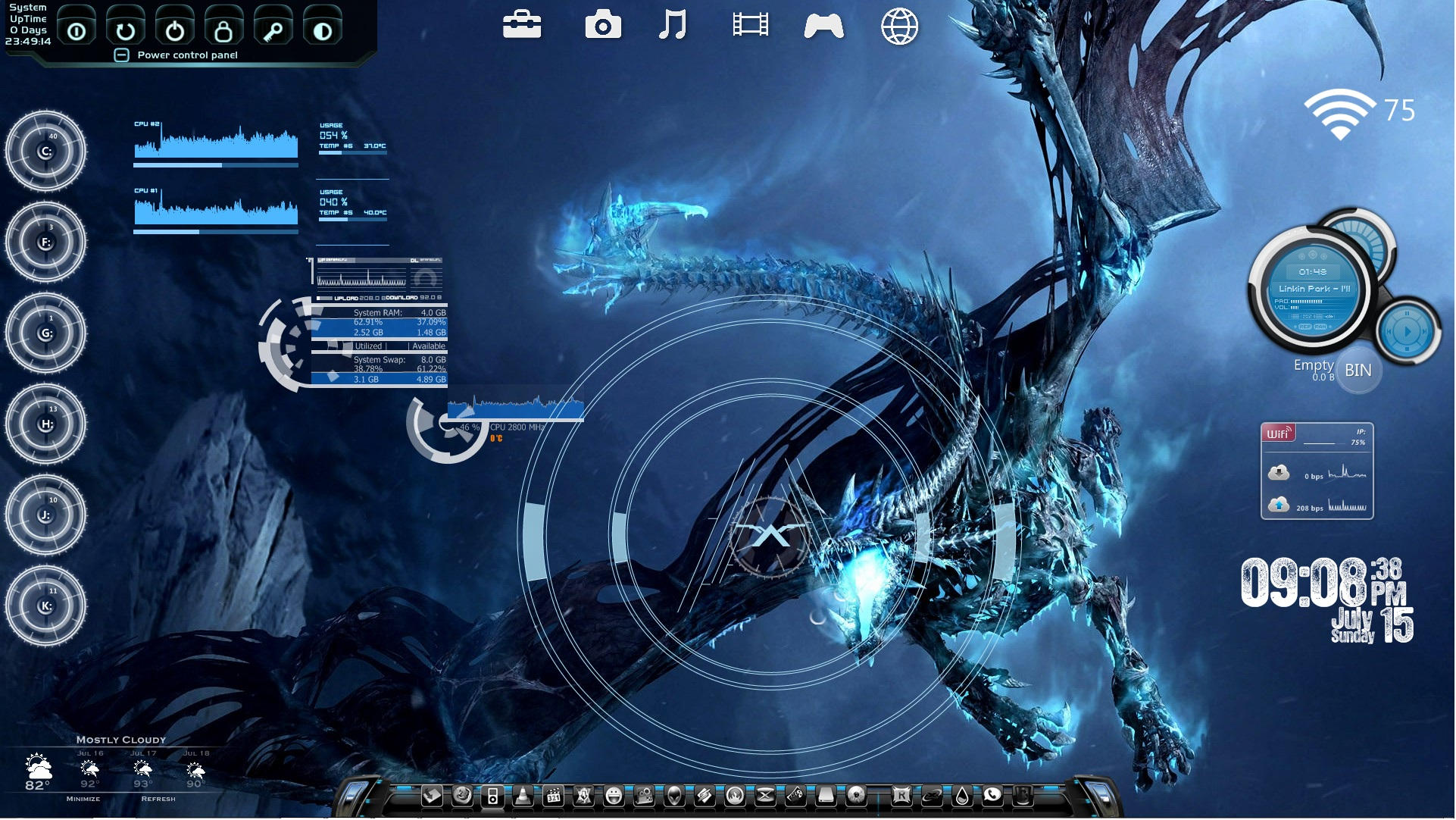 Dragon Rainmeter Desktop