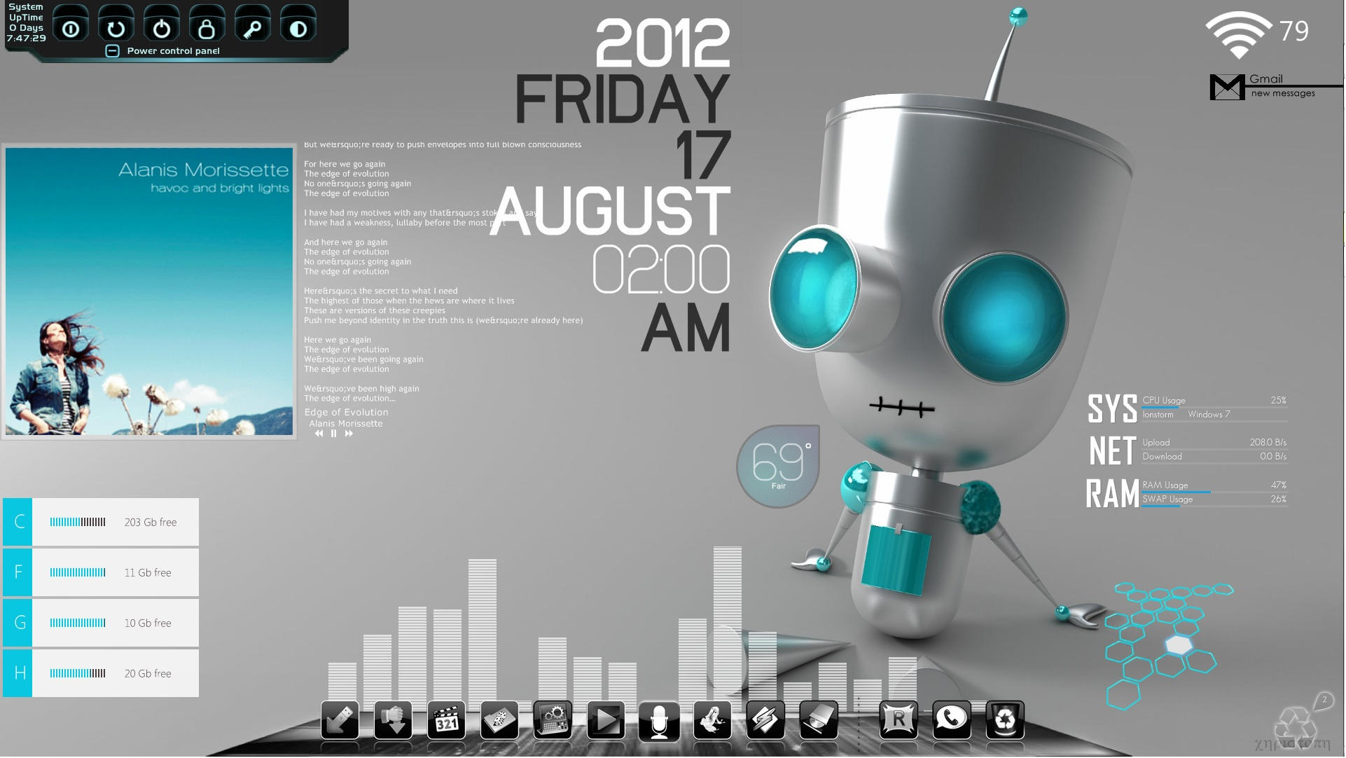 Gmail themes free download windows -  Chillin Bot Desktop V2 0 For Rainmeter By Ionstorm01
