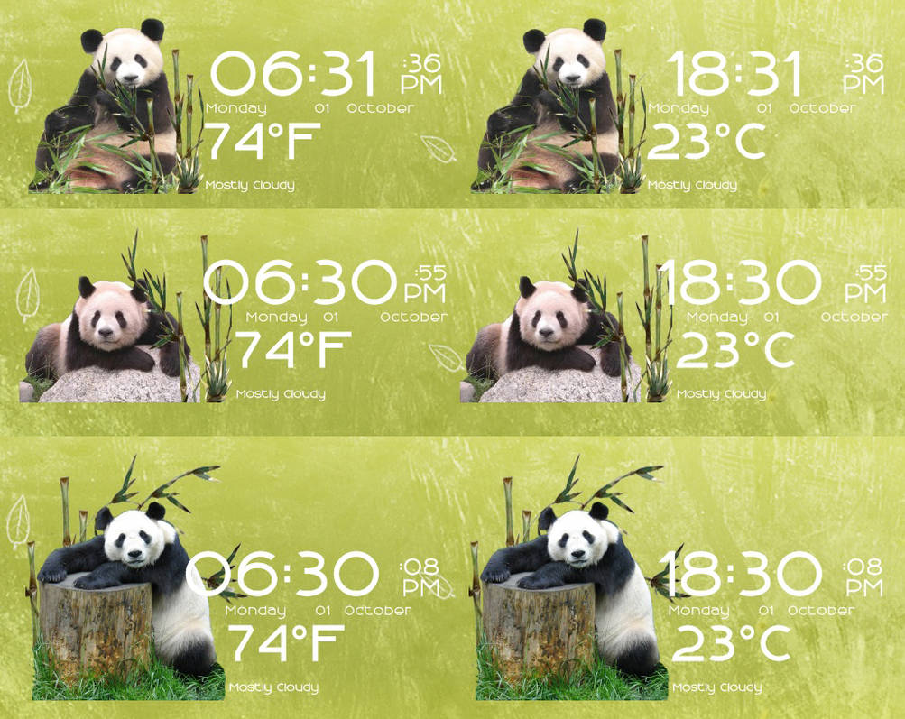 Pandas Time Date and Weather for Rainmeter