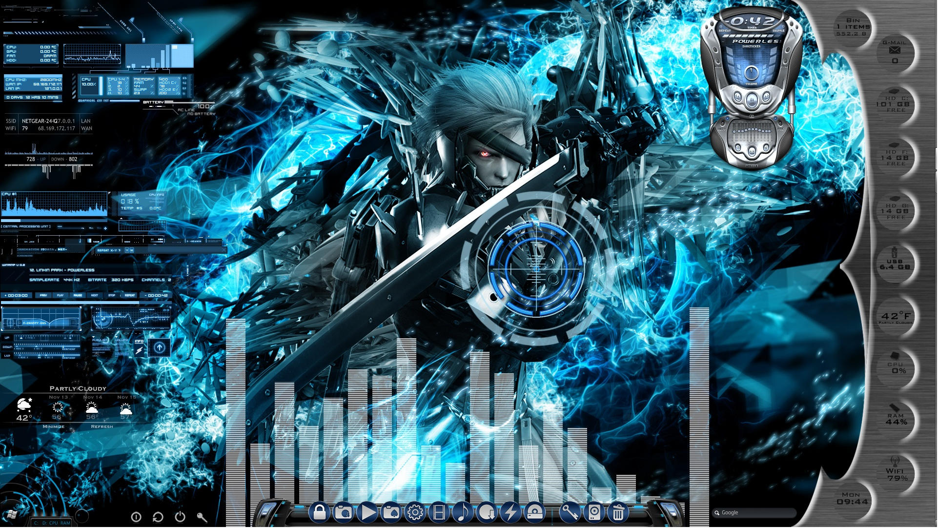 Metal gear rising animated desktop for rainmeter by - Anime moving wallpaper for pc ...