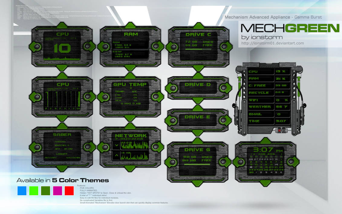 Mechanism Advanced Appliance - Electric Blue v1.1 for Rainmeter