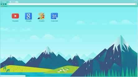 Chrome theme material mountains