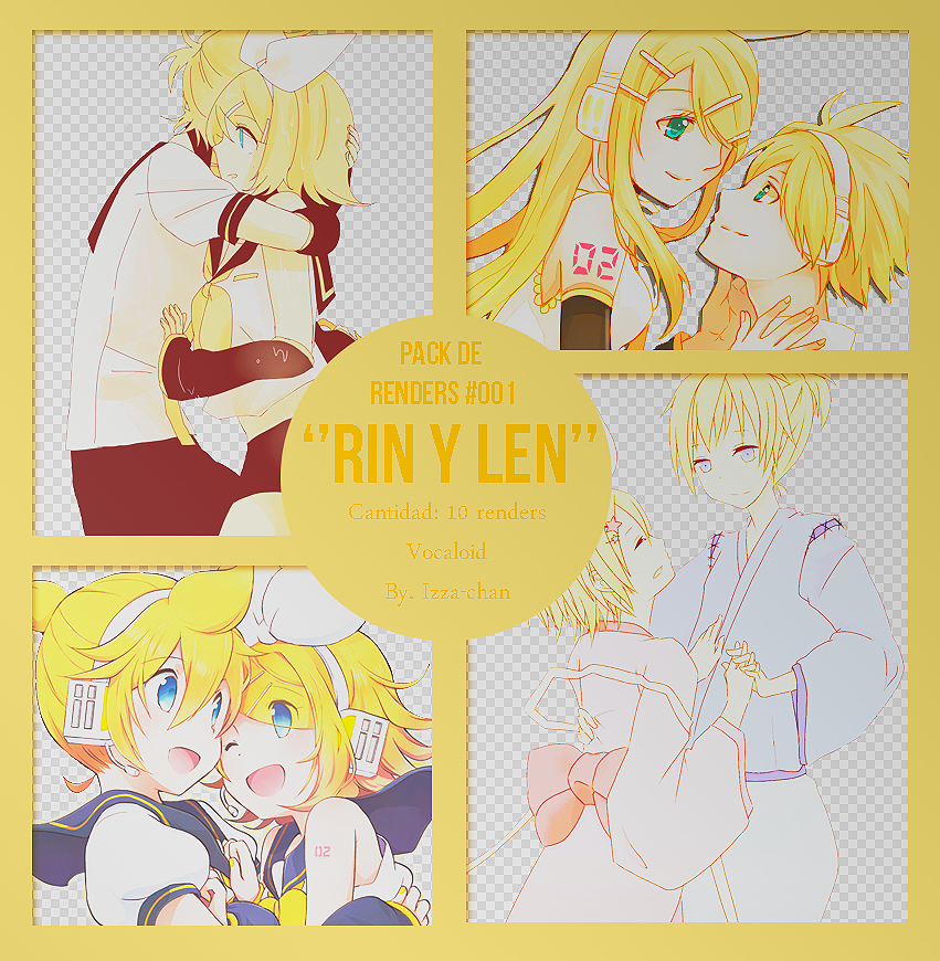 Pack de renders de Rin y Len- Vocaloid- by Izza-chan