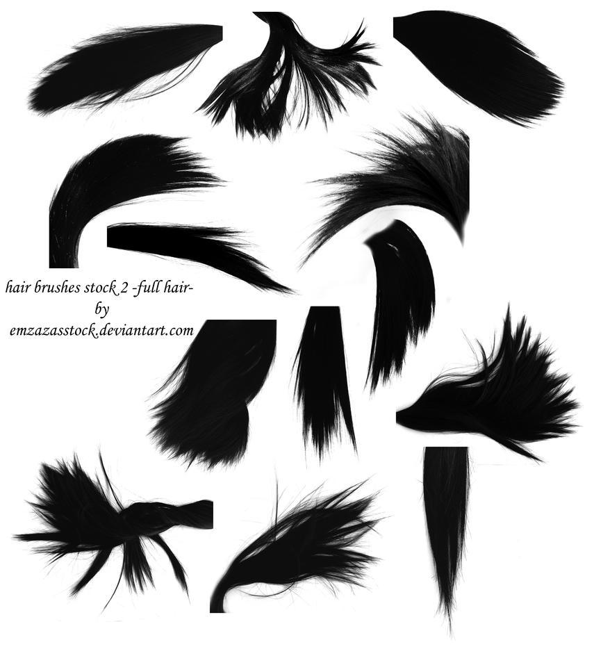 hair brushes 2 -full hair- by EmzazasStock