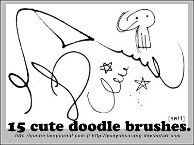 15 'cute doodle' brushes by yunyunsarang