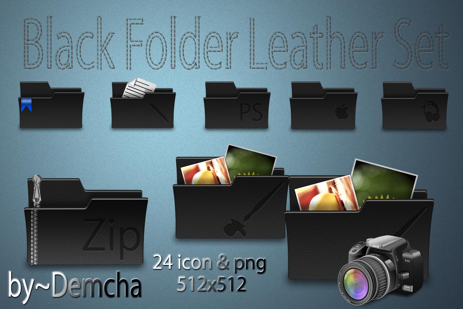 Black Folder Leather Set