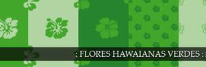 Green hawaian flowers pattern