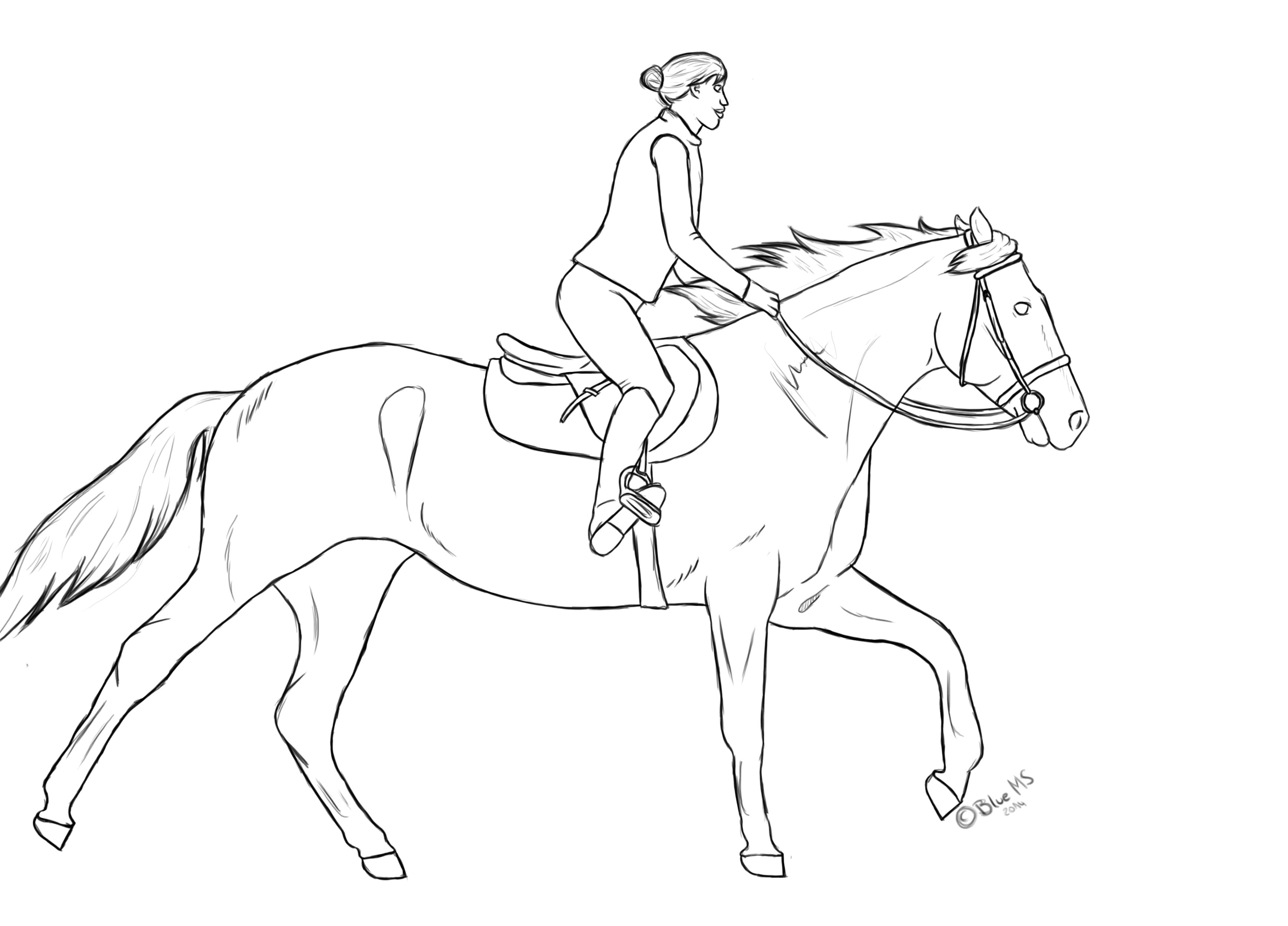 Horse Rider Free Line By Bluemoonstable On Deviantart