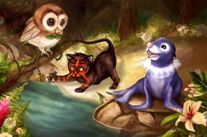 Pokemon Alola Starters: Rowlet, Litten and Popplio by LukeFitzsimons