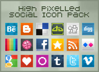 High Pixelled Social Icon Pack by Web5teR