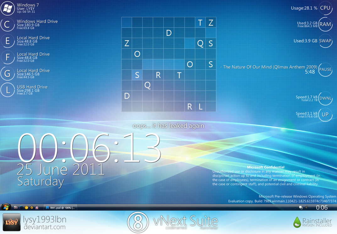 Vnext rm suite by lysy1993lbn on deviantart for Bureau windows 7 rainmeter