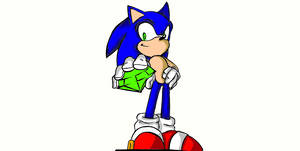 Sonic holding a chaos emerald
