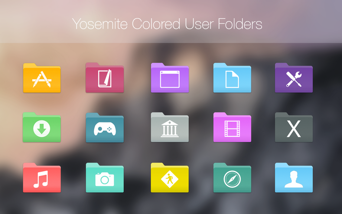 Yosemite Colored User Folders by Dance-Floor-Junkie