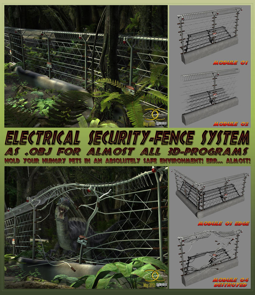 Electric High Security fence-system as .OBJ by ancestorsrelic