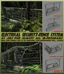 Electric High Security fence-system as .OBJ