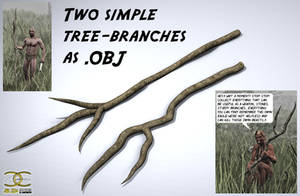 Two simple Tree-Branches as .OBJ