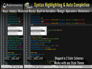 Rainmeter Syntax Highlighting Auto Completion NP++