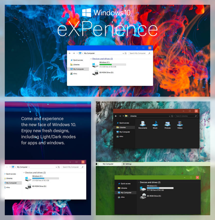 Experience Windows 10 Theme Rs5 Skin Pack Theme For Windows 10