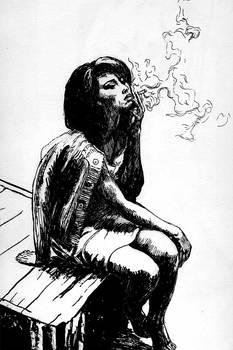 fille fumant une cigarette