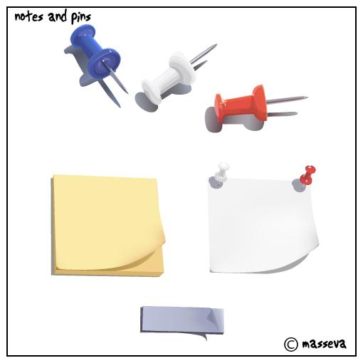 notes and pins