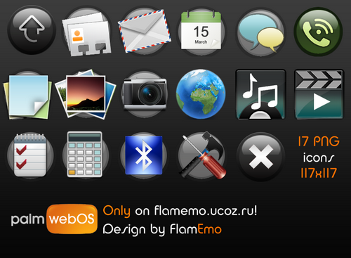 Palm web OS icons by FlamEmo