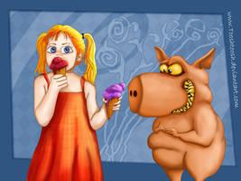 Greedy Pigs likes ice cream