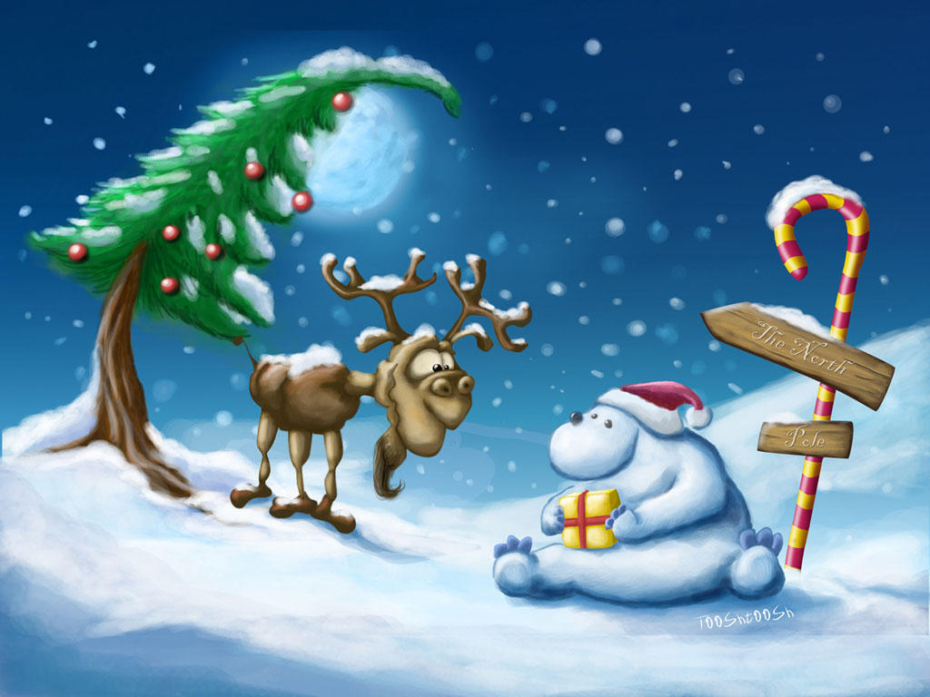 Happy Xmas Polar bear + moose by Tooshtoosh