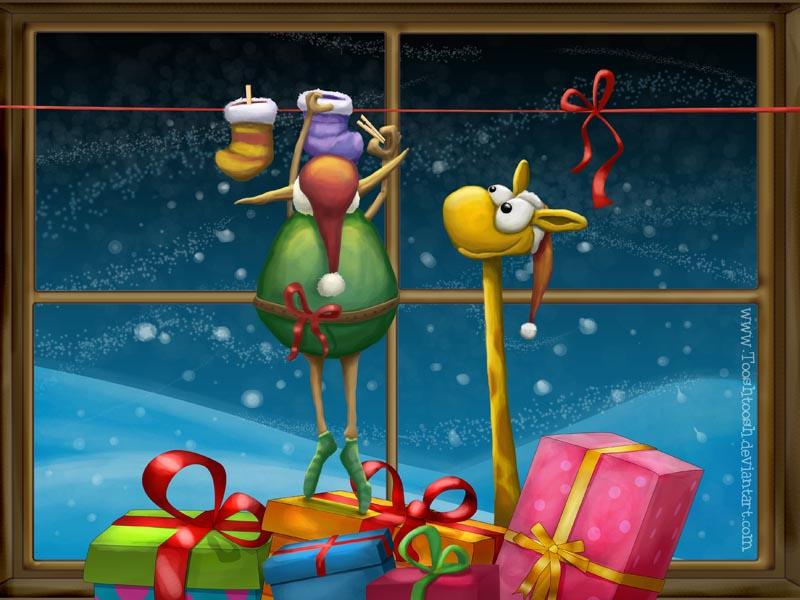 Hanging Stockings - Wallpaper by Tooshtoosh