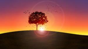 Create an Autumn Sunset scene with GIMP 2.10