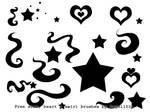 Hearts stars and swirls brush