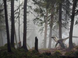 Dakotaraptor with hatchlings