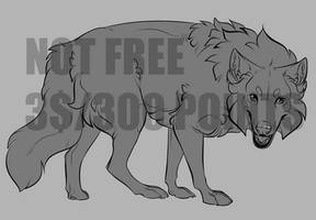 (3$/300 Points) Wolf Lineart 11/12