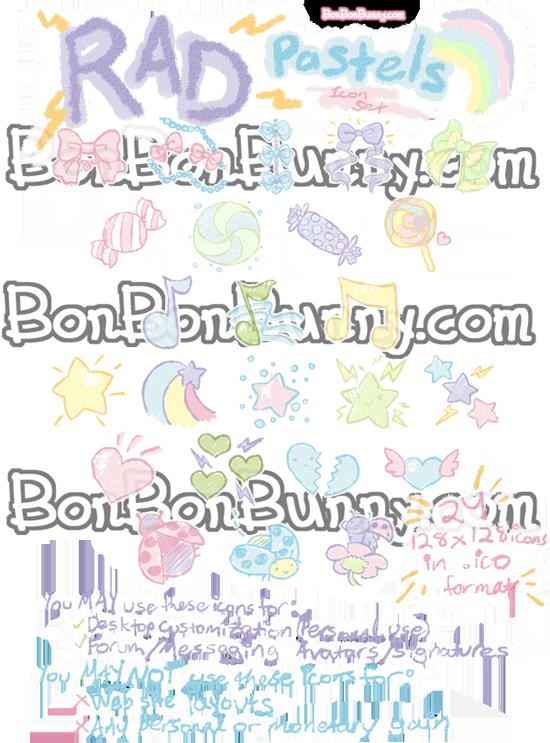 Rad Pastel Icon Set by Bon-Bon-Bunny
