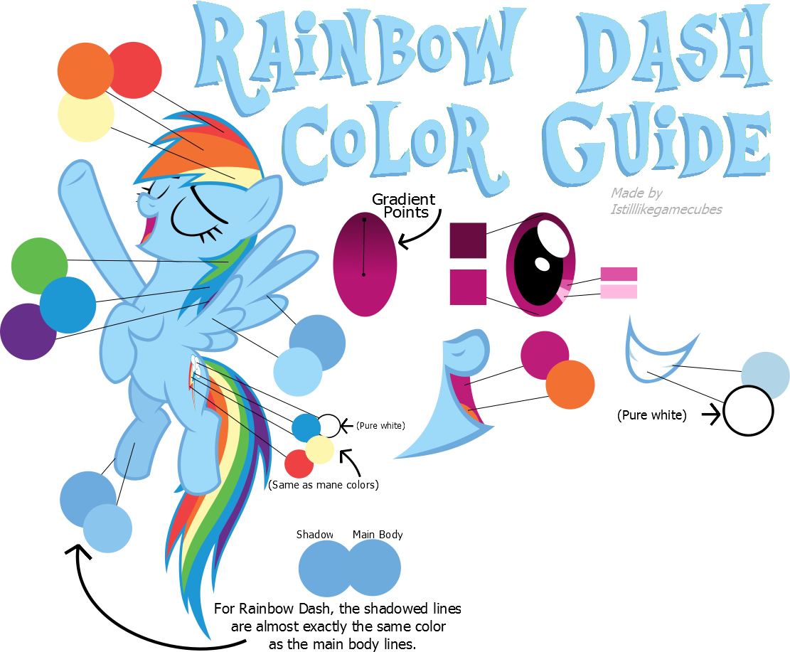 Rainbow Dash Color Guide Colors From Hubworld by