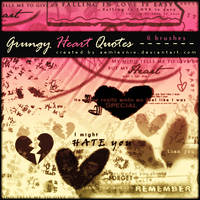 Grungy Heart Quotes Brushes by AemLesniw