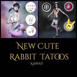 MysticArtDesign Cute Rabbit LIE Tatoos