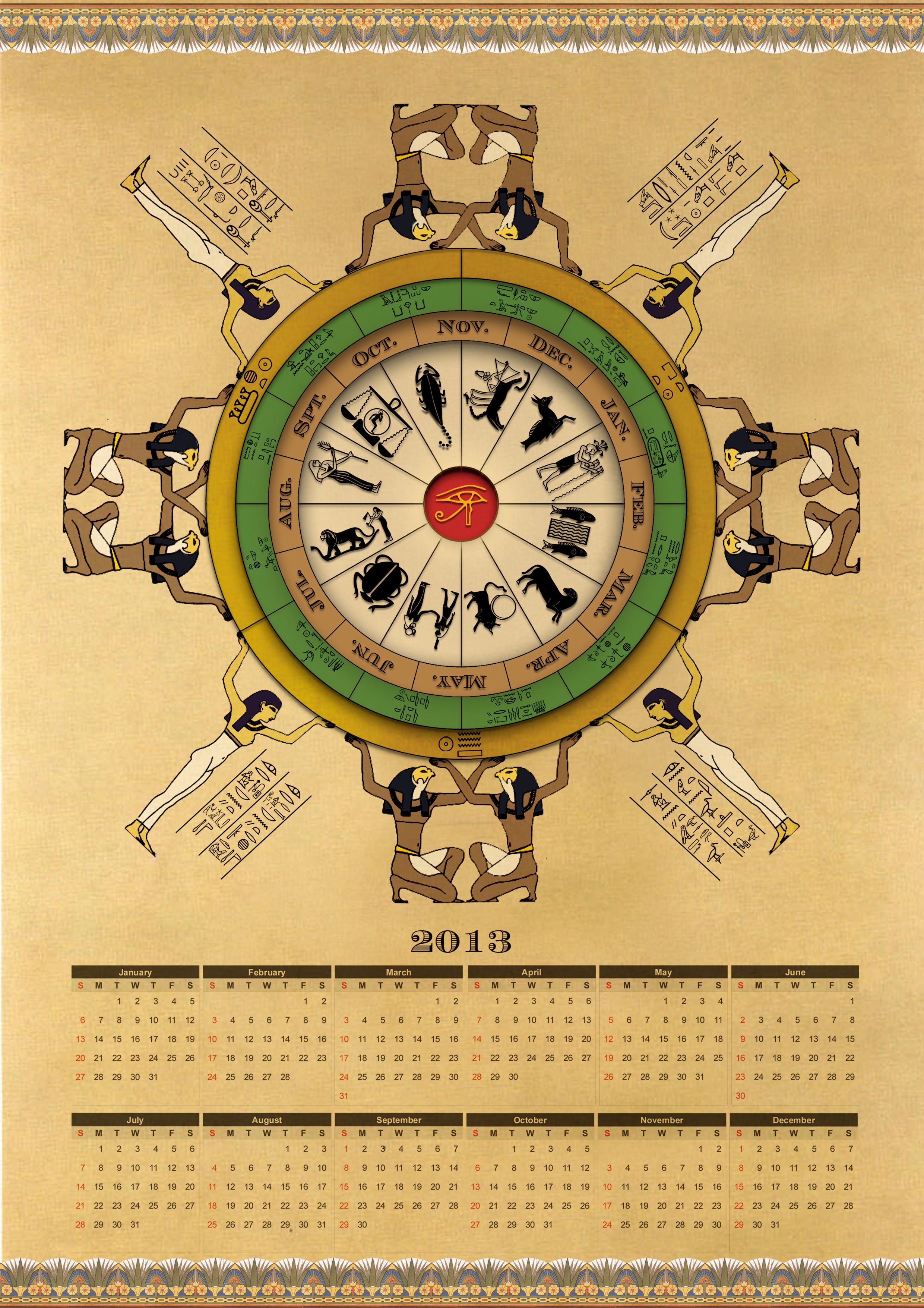 Ancient Egyptian Calendar for 2013 by Thothhotep
