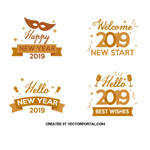 2019 New Year labels vector art by Vectorportal