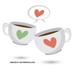 Valentine's day mugs vector image