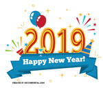 Happy New Year 2019 vector background by Vectorportal