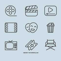 Cinema and film vector icons by Vectorportal