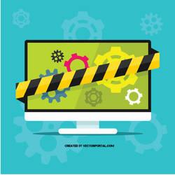 Computer repair shop vector graphics by Vectorportal