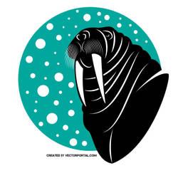Walrus vector clipart by Vectorportal