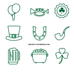 St. Patrick's Day Icons by Vectorportal