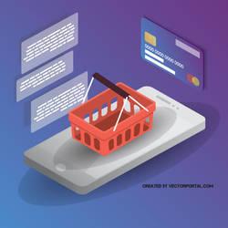 Mobile shopping vector clip art by Vectorportal