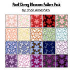 Pixel Cherry Blossom Patterns